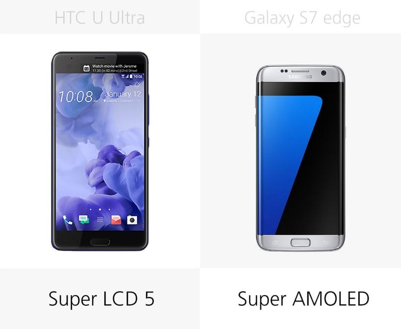 смартфон HTC U Ultra или самсунг S7 Edge у кого лучше экран