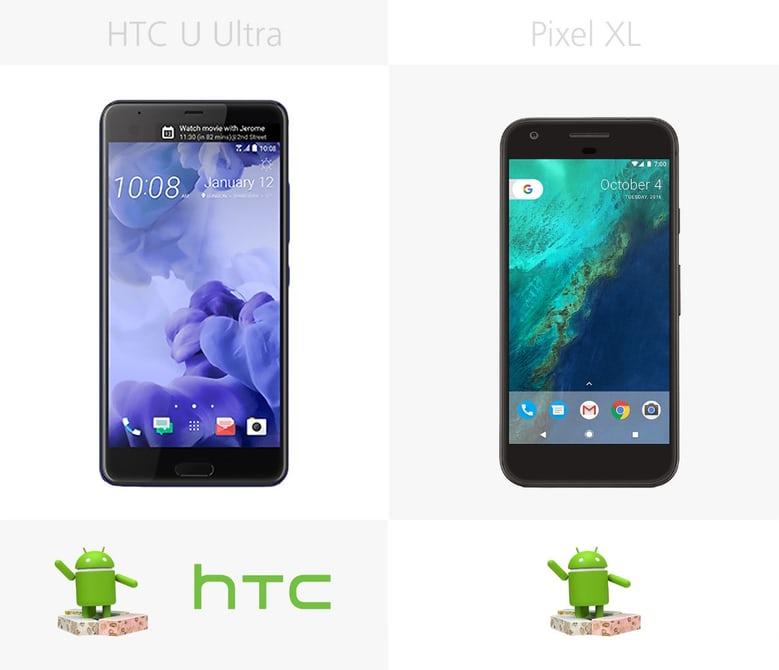 сравнение Андроида смартфонов Pixel XL и HTC U Ultra