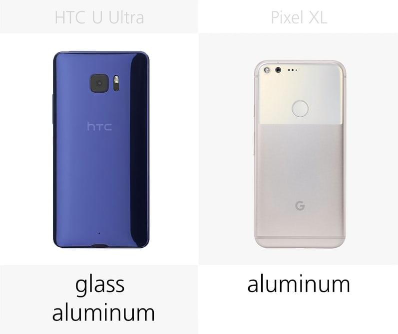 сравнение смартфонов Pixel XL и HTC U Ultra материал корпуса