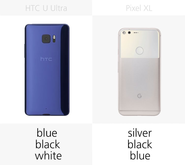 сравнение смартфонов Pixel XL и HTC U Ultra цвета