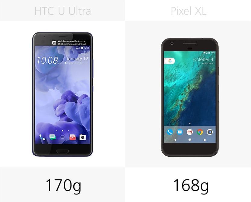 сравнение смартфонов Pixel XL и HTC U Ultra вес
