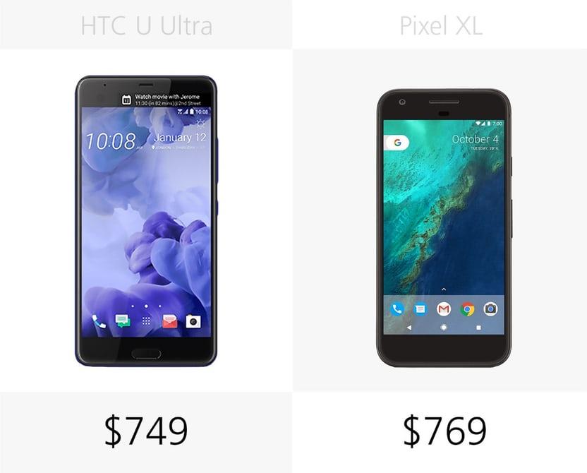 сравнение цены смартфонов Pixel XL и HTC U Ultra