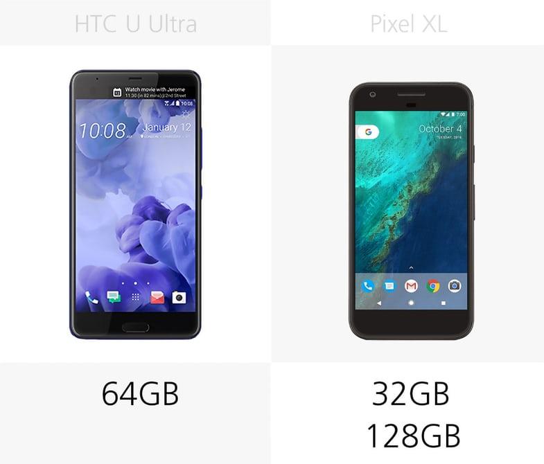 смартфон HTC U Ultra или Pixel XL что лучше по железу: память