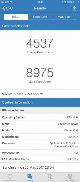 iPhone 8 тест Geekbench