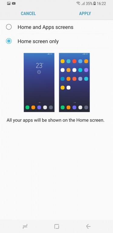 главный экран S8 раскладка
