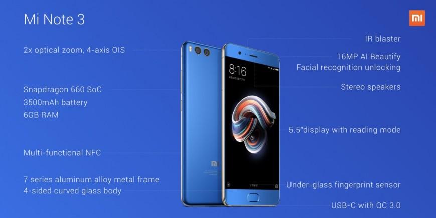 основные преимущества Xiaomi Mi Note 3