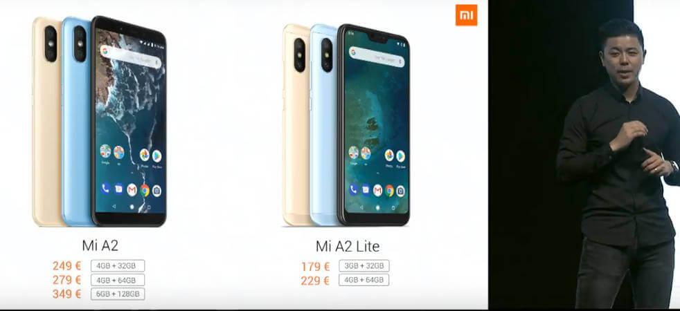 цена Xiaomi Mi A2 и Mi A2 Lite официально