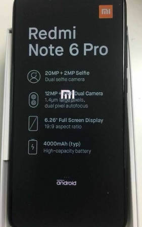 Xiaomi Redmi Note 6 характеристики