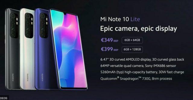 Xiaomi Mi Note 10 Lite цена дата выхода