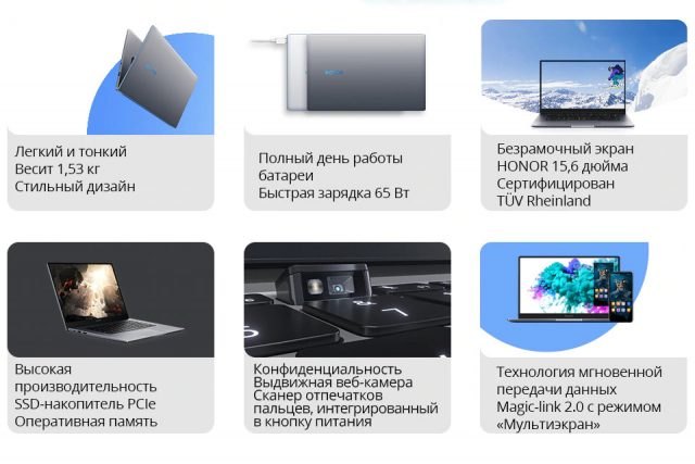ноутбук Honor MagicBook 15 характеристики