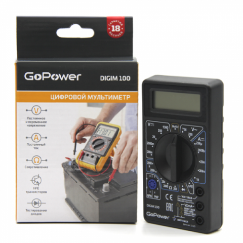 GoPower Многофункциональный цифровой мультиметр DigiM 100